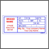 142068 Induction Motor Custom Labels