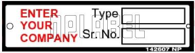 142607V Customize Sr. No. Sticker