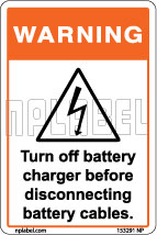 153291 Turn Off Battery Warning Sticker & Labels