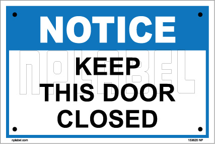 153620 Keep This Door Closed Labels & Signs