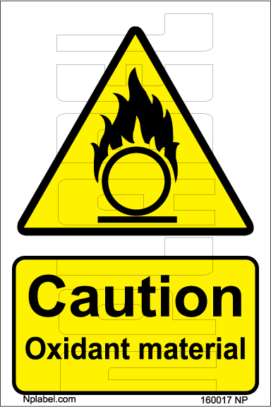 160017 Caution Oxidant Material Stickers