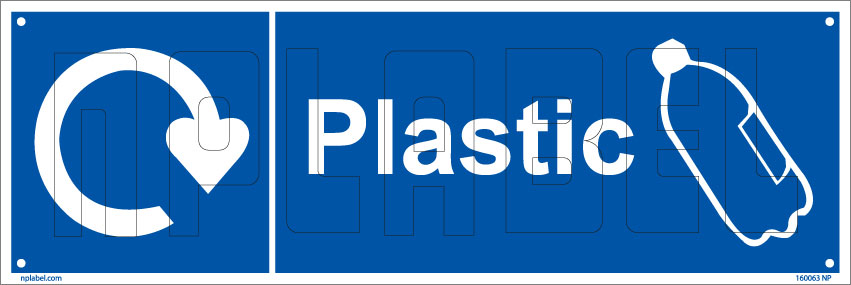 160063 Plastic Waste Recycle Dustbin Label