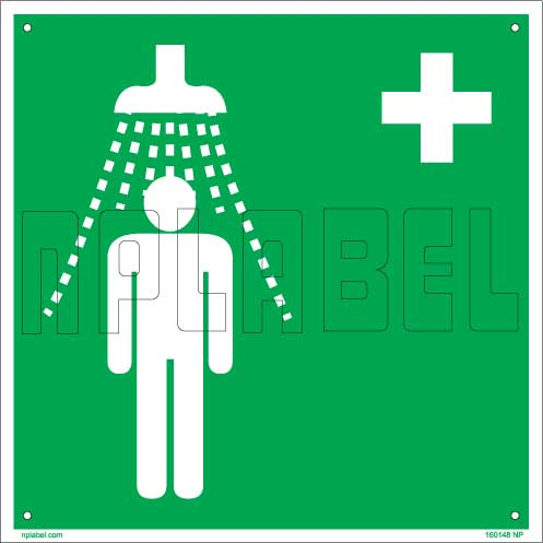 160148 Fire Safety - Emergency Shower Signs Name Plate