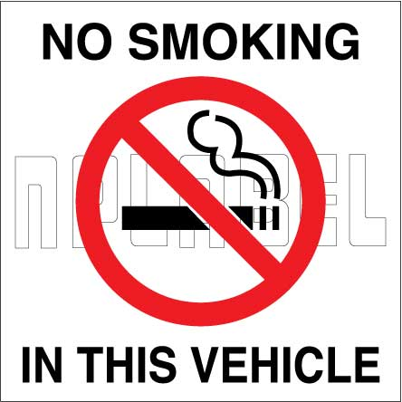 160150  NO SMOKING - In This Vehicle Sing Labels & Stickers