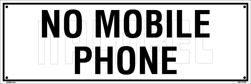 160175 No Mobile Phone Name Plate