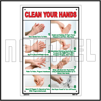 162501 Wash Hands Instructions Name Plates & Signs