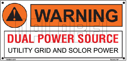 162520ML Customize Warning Dual Power Source Metal Labels