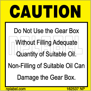 162537 Gear Box Caution Signs Stickers & Labels