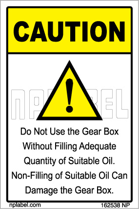 162538 Gear Box Caution Sticker
