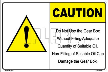 162539 Gear Box Caution Sticker