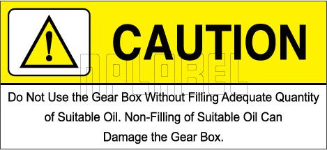 162540 Gear Box Caution Sticker