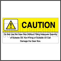 162540 Gear Box Caution Sticker