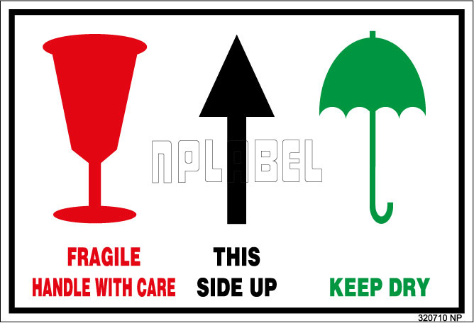 320710 Fragile/Handle With Care/Side Up Sticker