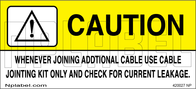 420027 Caution - Use Cable Jointing Kit Labels