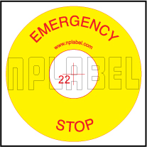 420509 Emergency Stop Polycarbonate Sticker