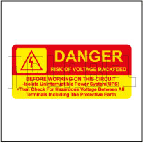 570577 Risk Of Voltage Backfeed Stickers & Labels