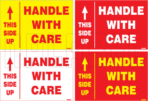 582262 Handle With Care/Up Side Sticker Labels