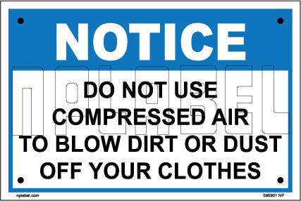 590901 Do Not Use Compressed Air Caution Label