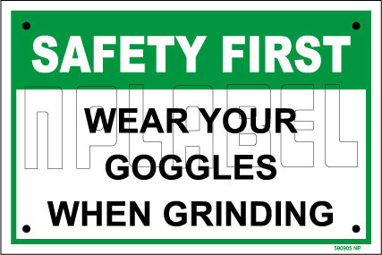 590905 Wear Goggles Warning Label Name Plate
