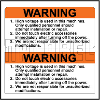 590928 High Voltage Warning Stickers