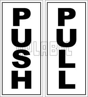 591690 Push/Pull Door Sign Sticker Label