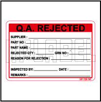 591728 Q.A. Rejected Stickers & Labels