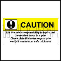 591995 Caution - Hydro Test Labels Stickers