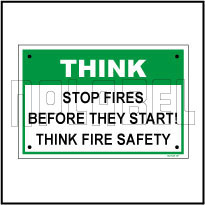 592515ML Stop Fires Metal Sign Label