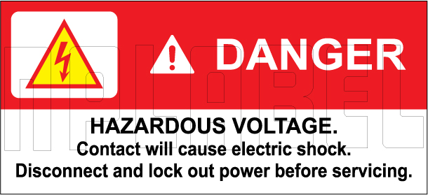 770600 Danger - Hazardous Voltage Labels & Sticker