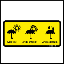 940139 Avoid Heat/Daylight/Moisture Stickers