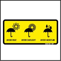 940139 Avoid Heat/Daylight/Moisture Stickers