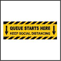 CD1969 Queue Starts Here Floor Sticker