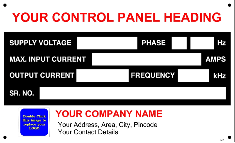 CP001 Control Panel Data Plate